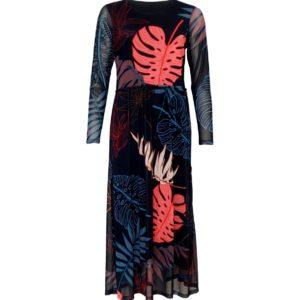 Donker blauw kleedje (bloemen print)