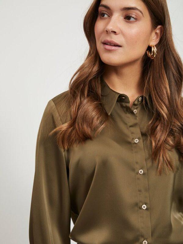 Olijf groene blouse