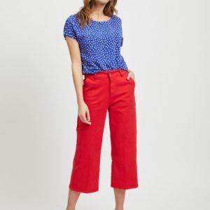 High waist jeans red