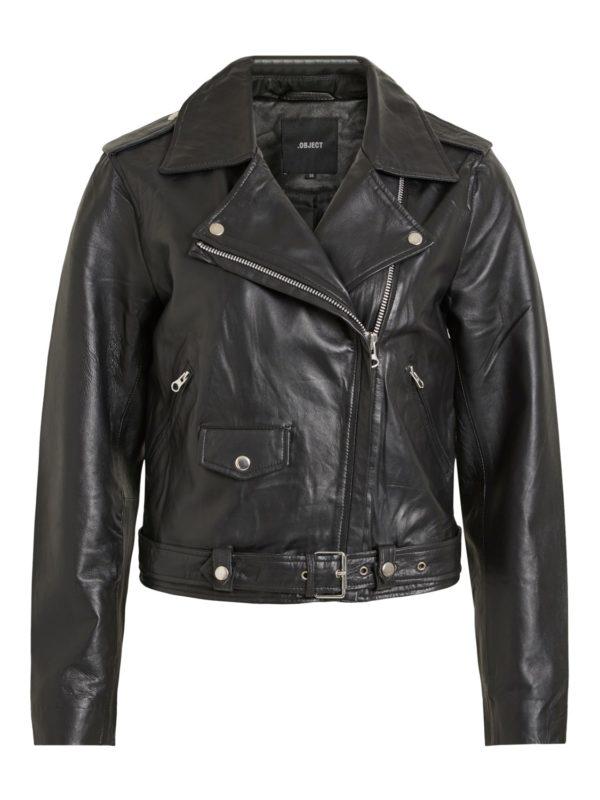 Zwarte jas (echt leder)