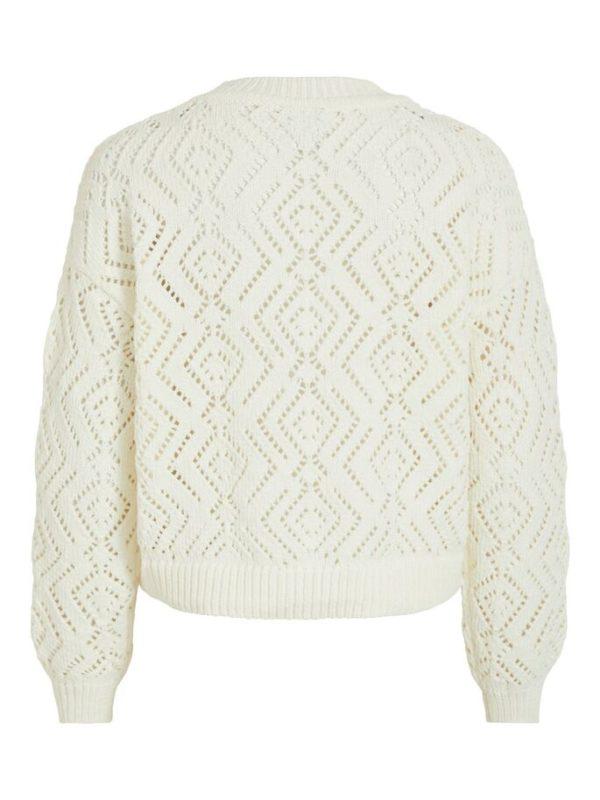 Witte pullover met ronde hals