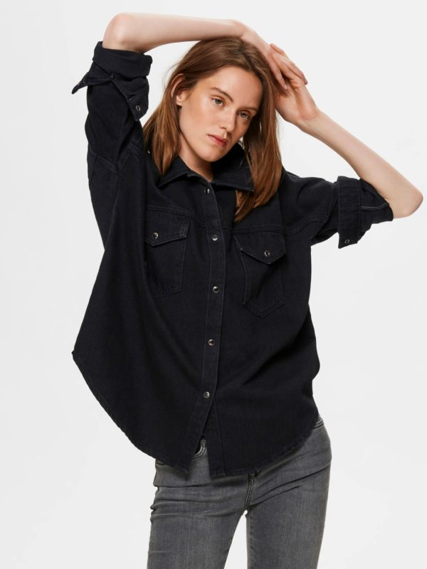 Zwart jeans hemd