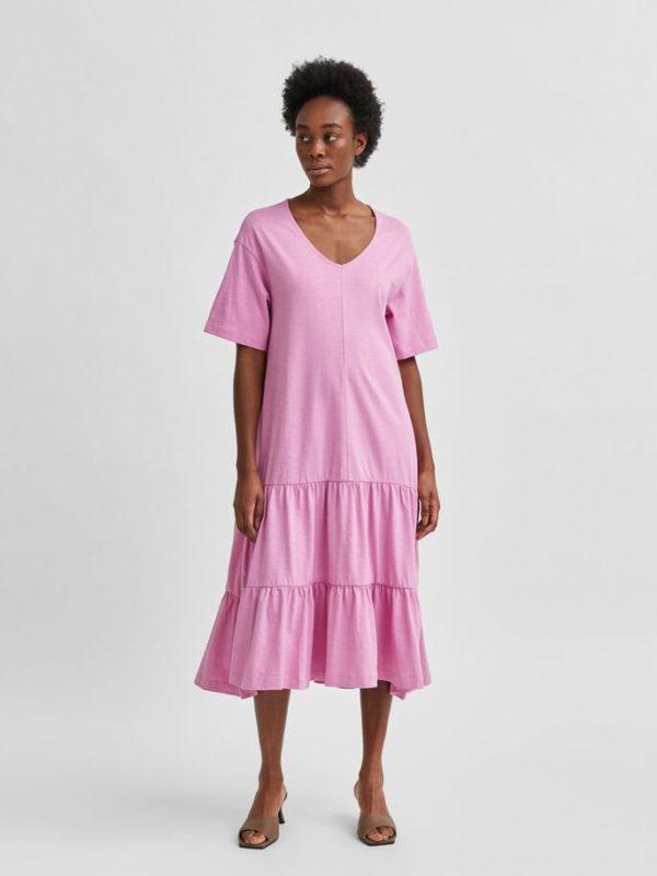 lange jurk met v-hals