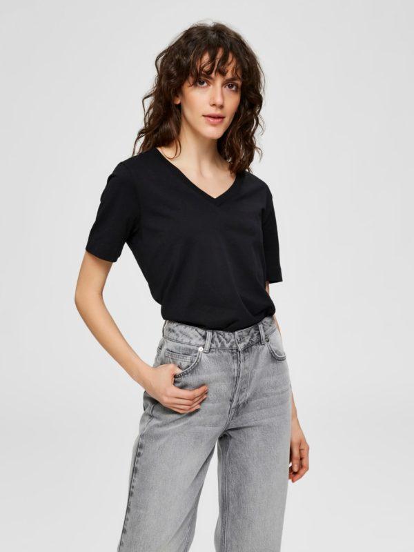 T-shirt v-hals zwart